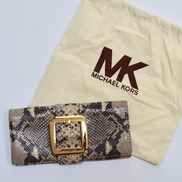 Michael Kors Handbags - Michael Kors Beige Black Gold Snakeskin Clutch Bag